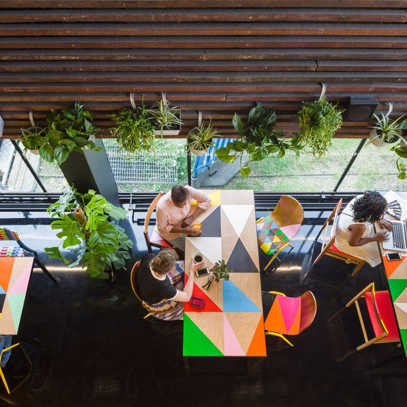 Morag Myerscough designs Colorful Cafe in Bernie Grants Arts Centre