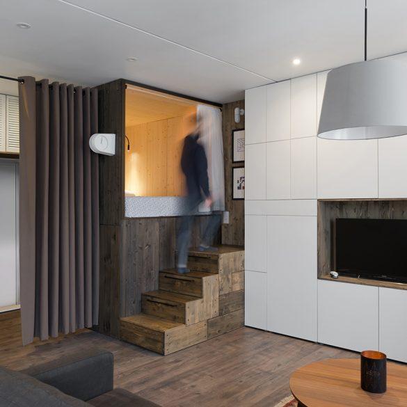 minimalist apartment Studio Bazi Creates Sleeping Box for Minimalist Apartment in Moscow Studio Bazi Creates Wooden Sleeping Box for Apartment in Moscow 5 585x585
