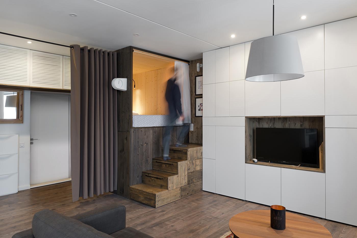 minimalist apartment Studio Bazi Creates Sleeping Box for Minimalist Apartment in Moscow Studio Bazi Creates Wooden Sleeping Box for Apartment in Moscow 5