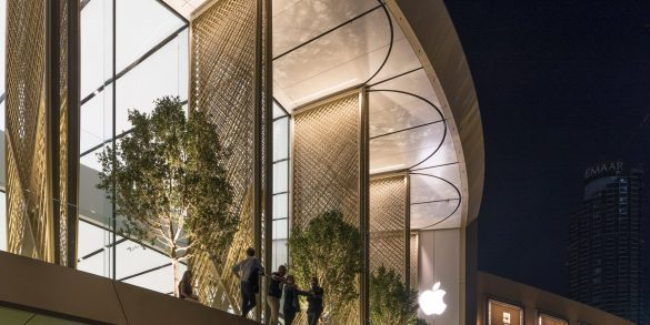 foster + partners Studio Foster + Partners Adds Carbon-Fibre Covers to Dubai Apple Store Studio Foster Partners Adds Carbon Fibre Covers to Dubai Apple Store 2 585x293