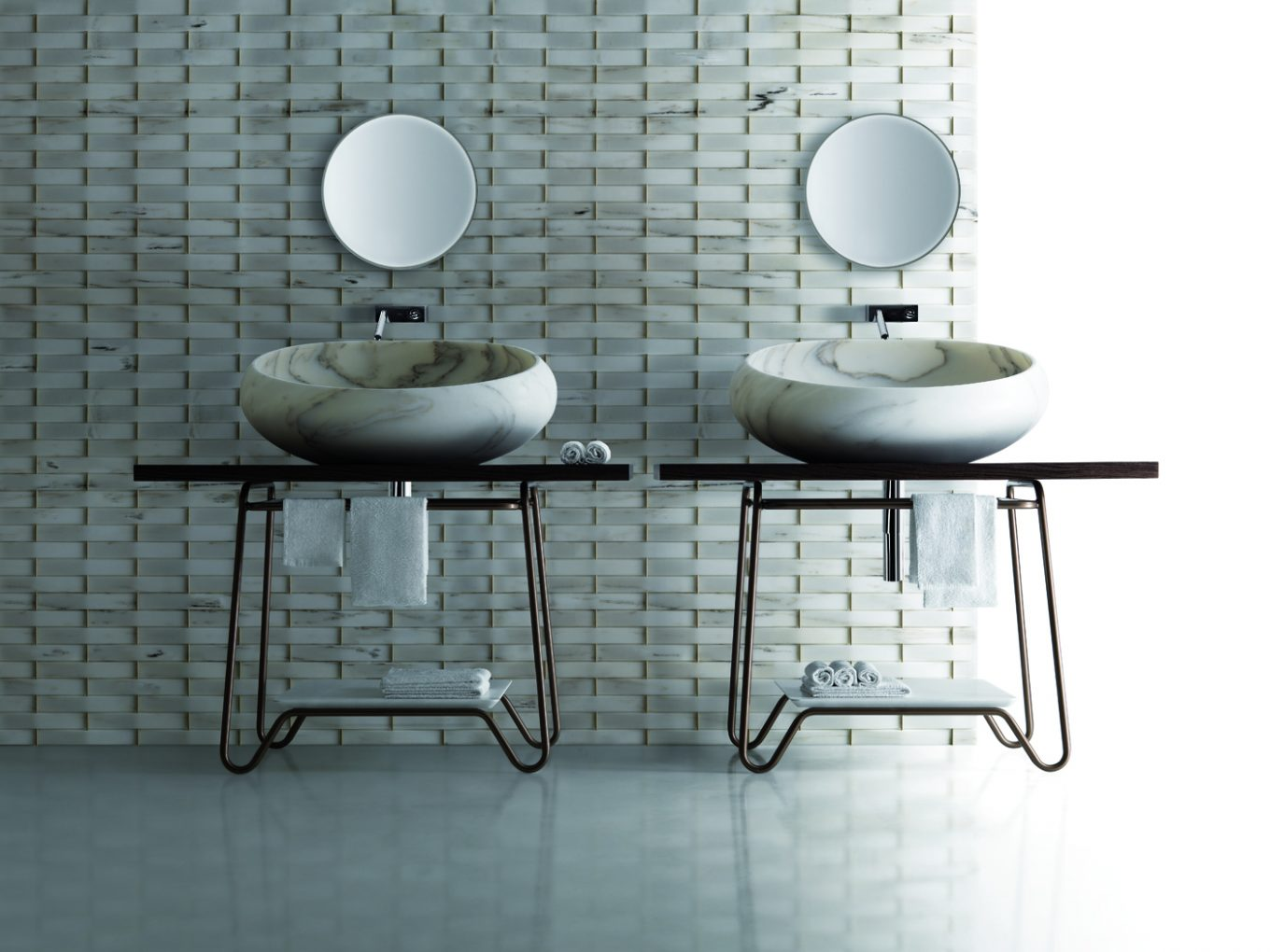 Natural Stone Designs Apply Ancient Techniques to Modern Luxury natural stone designs Natural Stone Designs Apply Ancient Techniques to Modern Luxury Kreoo GONG Washbasin in Bianco Estremoz Kato easel and Panama Texture6